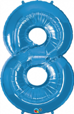 Number 8 Blue Super Shape Number Foil Balloon